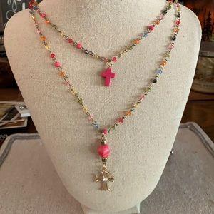 Forever 21 cross bead skull necklace